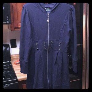 Navy Zip-Front Hooded Sweatshirt